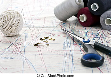 Accessory of the tailor - Scissors, stitching and other...