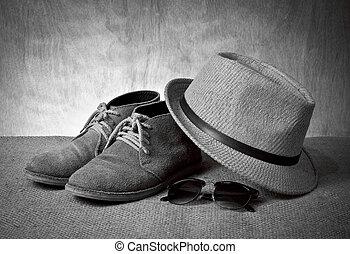 accessory set - set of men's accessory, boots, panama hat...