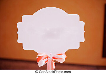 Accessory, white nameboard with nice small bow