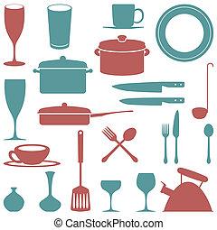 accessorys, jogo, cozinha