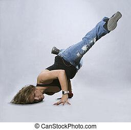 acción, adolescente, breakdance, niña, bailando