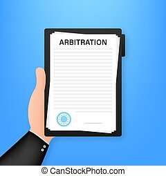 acción, agreement., arbitraje, vector, illustration., conflict., resolución, legal
