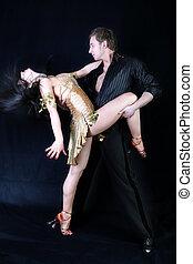 acción, bailarines, negro, latino, contra