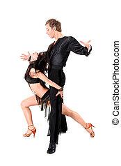 acción, blanco, bailarines, latino, aislado
