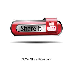 acción, botón, youtube, él, en línea