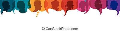 acción, bubble., profile., charla, gente, socializar, ...