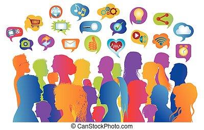 acción, burbuja, comunicación, gente, multiétnico, network...