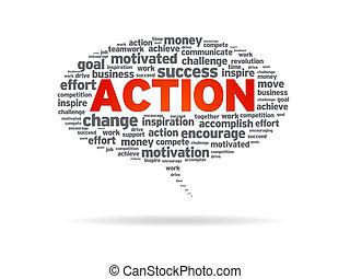 acción, -, burbuja del discurso