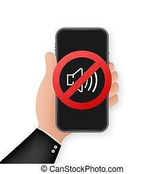 acción, célula, dispositivo, teléfono, no, call., sonido, ...