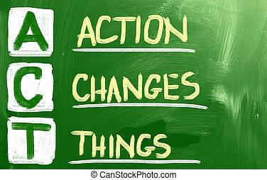 acción, cambios, cosas