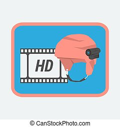 acción, casco, cámara, icono