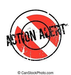 acción, caucho, alarma, estampilla