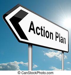 acción, concept., plan