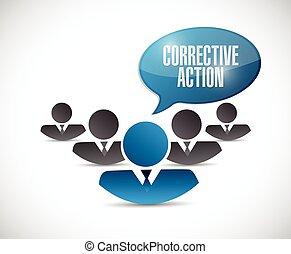 acción, correctivo, ilustración, gente