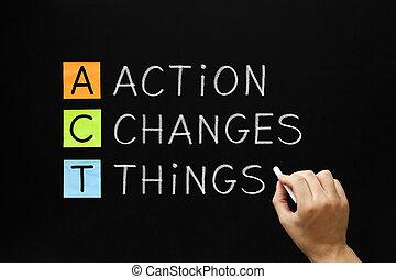 acción, cosas, cambios, siglas