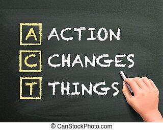 acción, cosas, escrito, cambios, mano