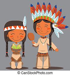 acción de gracias, día, americano nativo, pareja