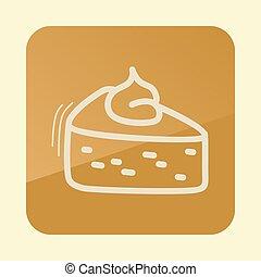 acción de gracias, icon., calabaza, pedazo, contorno, pastel