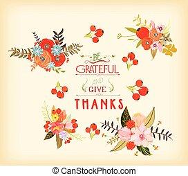 acción de gracias, mano, dibujado, floral