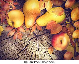 acción de gracias, marco, fondo., colorido, hojas, manzanas y peras