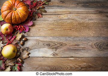 acción de gracias, o, otoño, saludo, con, calabazas, bayas, y, permisos de otoño