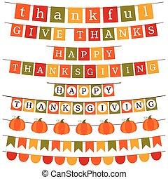 acción de gracias, y, otoño, bandera, decoración