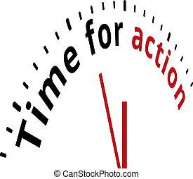 acción, de motivación, reloj de tiempo