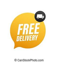 acción, delivery., insignia, libre, illustrtaion., truck., vector