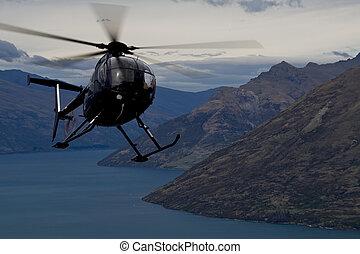 acción, encima, helicóptero, queenstown
