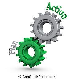 acción, engranajes, plan
