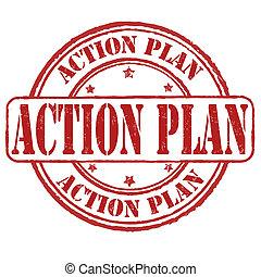 acción, estampilla, plan