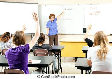 acción, foto, de, enseñanza, álgebra, clase