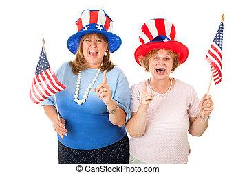 acción, foto, de, entusiasmado, norteamericano, votantes
