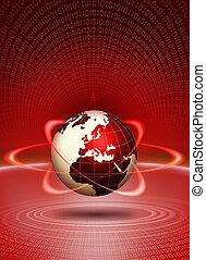 acción, globo del mundo, tecnológico