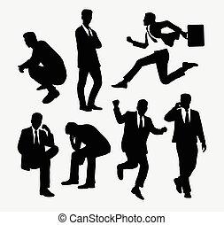 acción, hombre de negocios, silhouett, gente