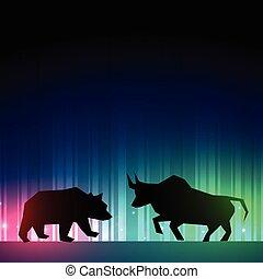 acción, ilustrador, mercado, oso, toro