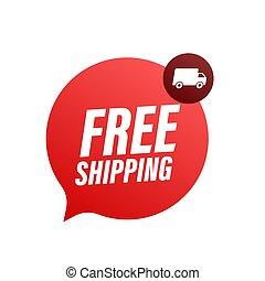 acción, insignia, libre, illustrtaion., shipping., truck., vector