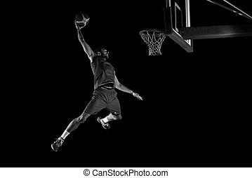 acción, jugador, baloncesto