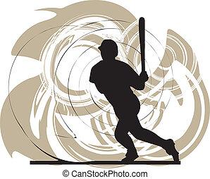 acción, jugador, beisball