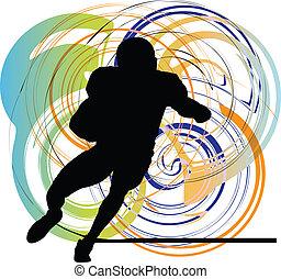 acción, jugador, fútbol americano