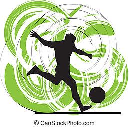 acción, jugador, fútbol