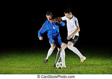 acción, jugadores, pelota, fútbol