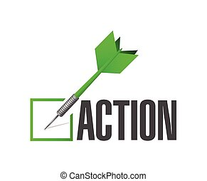acción, lista, cheque, ilustración, dardo