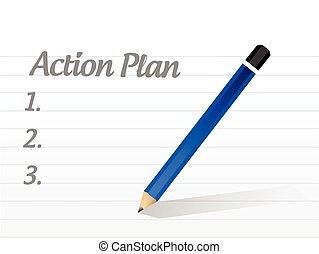 acción, lista, diseño, plan, ilustración
