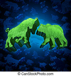 acción, Mercado, oso, toro