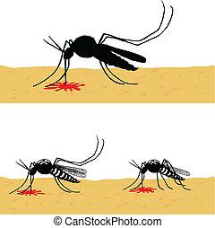 acción, mosquitos