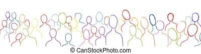 acción, multiétnico, multitud, population., muchos, ...