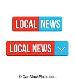 acción, noticias, botón, vector
