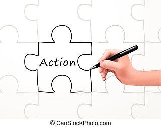 acción, palabra, y, rompecabezas, dibujado, por, mano humana