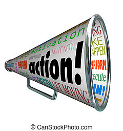 acción, palabras, megáfono, megáfono, motivación, misión